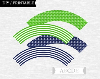 Instant Download Green and Navy Cupcake wrappers Nautical baby shower birthday party DIY Printable (PDN013)