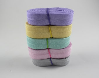 Pastel Fold Over Elastic Bundle - Elastic For Baby Headbands and Hair Ties - 10 Total Yards of 5/8 inch FOE