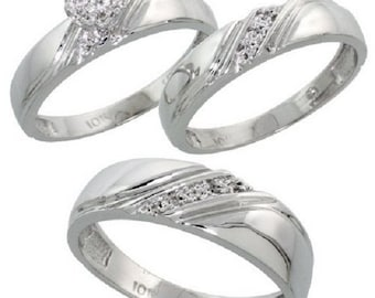10k White Gold Diamond Trio Engagement Wedding Ring Set for Him and Her