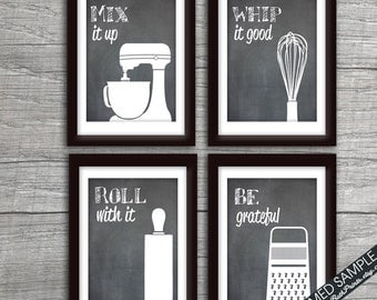 Funny Kitchen Art Print Set (Mixer, Whisk, Rolling Pin and Grater) Set of 4 Art Prints (Featured on Blackboard)