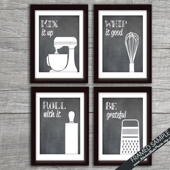 Kitchen Art Prints: Funny Kitchen Art Print Set Mixer Whisk Rolling Pin And