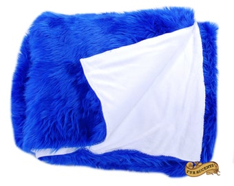 FUR ACCENTS Fan Fur Faux Fur Throw Blanket / Reversible / Blue and White / New