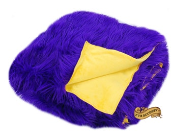 FUR ACCETNS Fan Fur Faux Fur Throw Blanket / Reversible / Gold and Purple