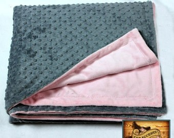 FUR ACCENTS Minky Cuddle Fur Throw Blanket / Reversible / Gray Dot and Pink