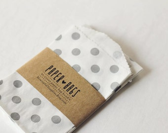 20 Small Paper bags - Slate Grey Dots - Package embellishment - Goodie bags - Party Bags - Scrapbooking - Book Making Accessory