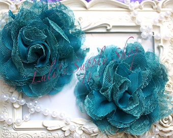 "Set of 2 - Teal 3.75"" Fabric flowers - Lace Flowers - shredded lace flower - chiffon flower - lace rose - Wholesale DIY  Supplies"
