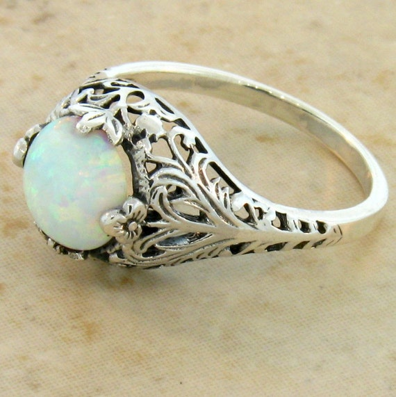 antique style white opal filigree engagement ring