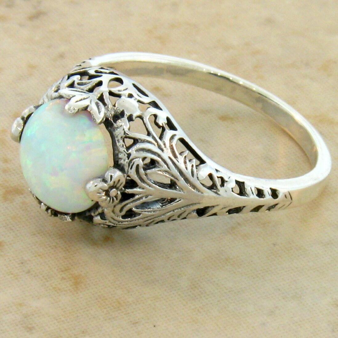 antique victorian style white opal filigree engagement ring. Black Bedroom Furniture Sets. Home Design Ideas