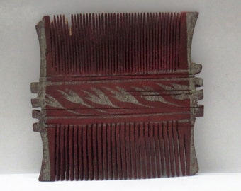 Antique old Indian Wooden hand carved comb / kangi / peigne / kamm two sided collectible
