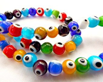 Lampwork Glass Evil Eye Beads, Evil Eye Bead Strand, Lampwork Beads, 8mm Glass Beads, Mixed Color Beads, Strand of 48 Glass Bead Rounds