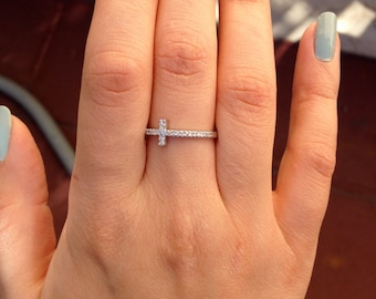 14K White Gold, Rose Gold, Yellow Gold Sideways Cross Diamond Ring