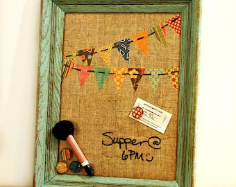 FREE SHIPPING, Magnetic Message Board, Burlap, Bunting, Dry Erase Magnet Board, Rustic Decor, Dorm, Bedroom, Bulletin Memo Board, Shabby