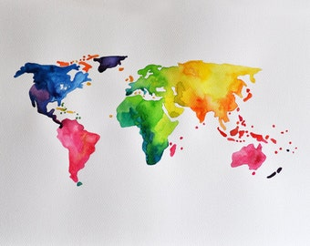 ORIGINAL Abstract World Map Painting 14x20 Inch, Rainbow Colored World Map, Watercolor map