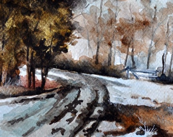 ORIGINAL Watercolor Painting, Winter Road, Countryside Road, Postcard Art, Small Format Art 4x6 inch