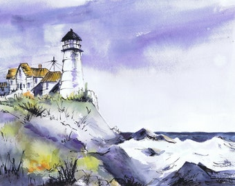 original watercolor of a lighthouse with pen and ink