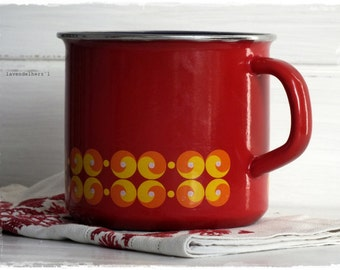 Enamel pot 70s, red with yellow dots RETRO