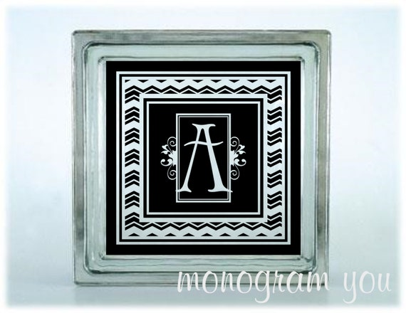 Initial glass block decal with chevron pattern frame 061 for Glass block window frame
