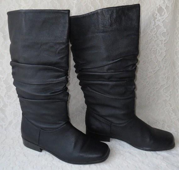 vintage classique black leather scrunch boots by