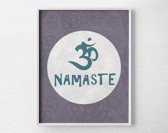 Namaste Om Print, Yoga Print, Yoga Studio Decor, Typography Poster, Wall Art, Inspirational Print, Yoga Poster, Motivational Art, 0169