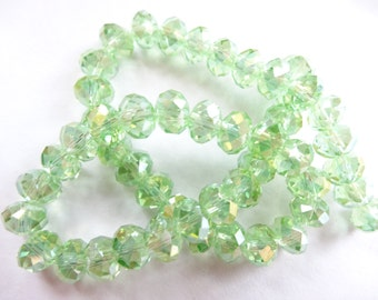 Lt Green Faceted Crystal Rondelle Beads