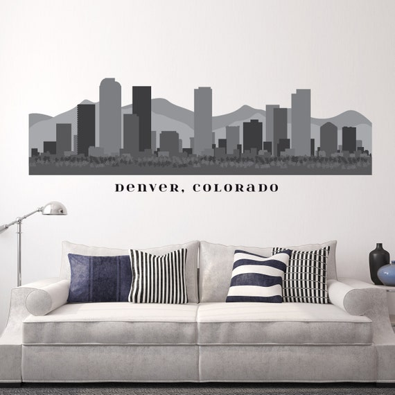 Denver colorado skyline wall decal art vinyl by americandecals for Real estate office wall decor