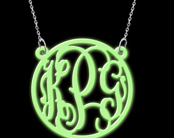 Monogram Necklace Acrylic Glow in dark initials personalized necklace
