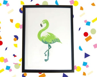 Green Flamingo Linocut print poster