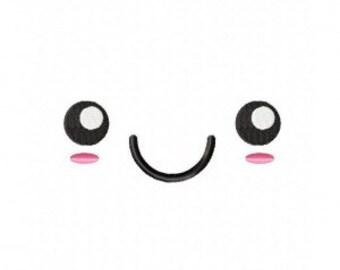Kawaii Face Smile Machine Embroidery Design