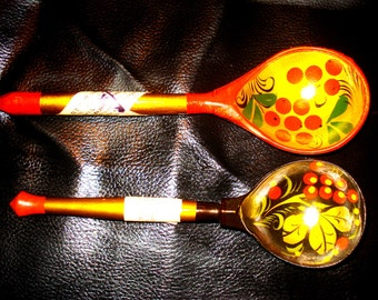 Two Soviet Vintage Wooden Painted Spoons Soviet Era home decor 1970s