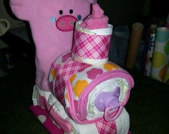 Pig, Cub, or Panda Train Diaper Cake