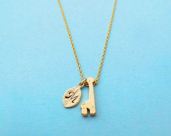 Lovely, Giraffe, Personalized, Letter, Initial, Gold, Silver, Necklace, Minimal, Hand stamped, Animal, Jewelry, Birthday, Best friends, Gift