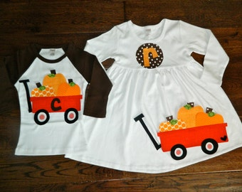 Fall Pumpkin Sibling Set-Pumpkin Applique Outfits- Perfect for Family Pictures