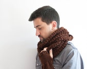 Large Infinity Scarf - Mens scarf with FREE Fingerless Gloves, Brown Crochet Cowl Scarf, Winter Hooded Cowl for him, ohtteam wood