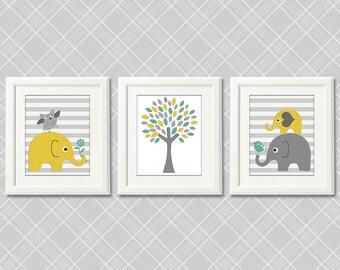 Yellow grey and teal elephant   nursery Art Print Set -  elephant family, baby elephant, aqua, striped, tree  - UNFRAMED