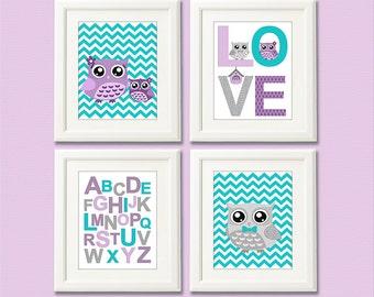 Purple and turquoise owl nursery Art Print Set , baby girl wall art, owl family, chevron, alphabet, aqua, lilac - UNFRAMED