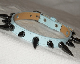 Baby Blue Classic Spiked Collar - Faux Leather Spiked Choker