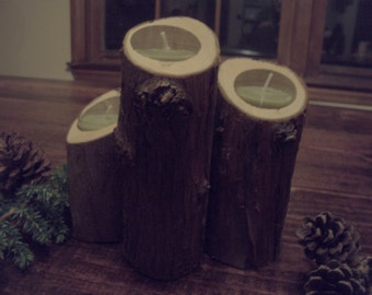 3 Cedar Branch Candle Holder - Shipping Included !