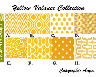 Yellow Valance. Yellow Chevron  Valance.Yellow Window Treatment.Kitchen Window Valance.Valance Window Treatment