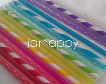 SIX YOUR CHOICE 9 Inch Bpa Free Reusable Straws - Twenty choices!