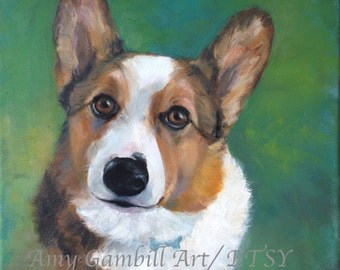 Dog pet portrait wall art custom painting wedding gift canvas art painting