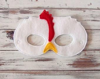 Chicken Mask - Felt, Barnyard, Animal Mask - Pretend, Dress Up, Halloween, Costume