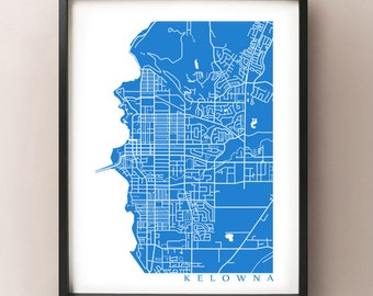 Kelowna Map Art  - BC Poster
