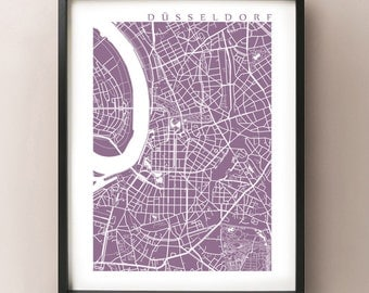 Dusseldorf Map - Germany Poster Print