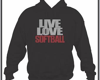 Softball Sweatshirt/ Softball Hoodie/ Rhinestone Softball/ Live Love Softball Hoodie Sweatshirt/ Softball Shirt