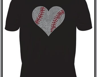 Baseball Shirts/ Rhinestone Baseball Shirt/ Rhinestone Large Baseball Heart T Shirt/ Baseball Gift/ Baseball Mom Shirt