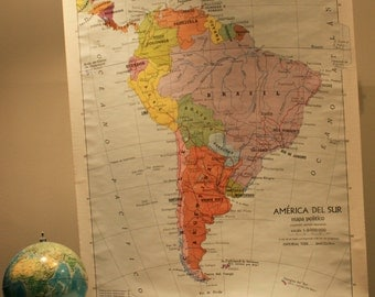 Vintage School Map of South America from 1974