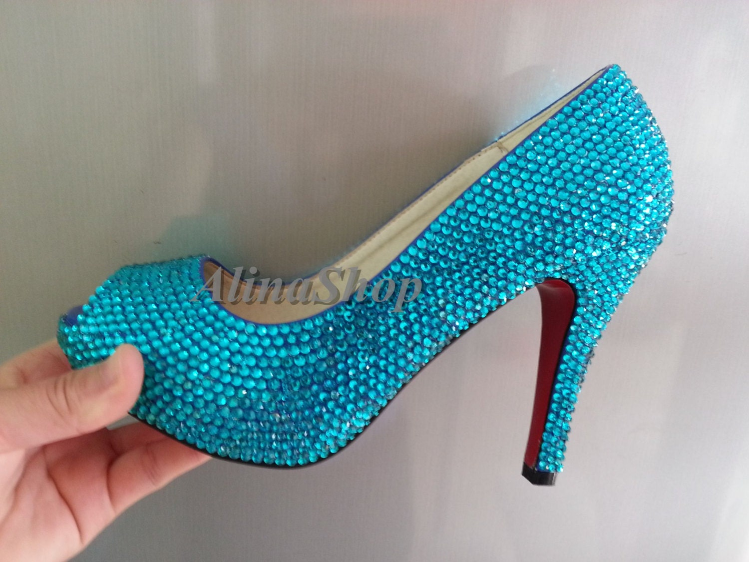 Turquoise Wedding Shoes Teal Rhinestone Bridal Shoes By AlinaShop