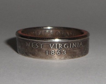 WEST VIRGINIA   us quarter  coin ring size  or pendant