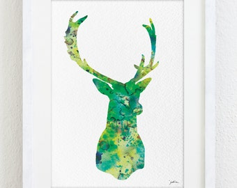Minimalist Art Deer Watercolor Print 5x7 Archival Print - Deer Painting, Deer Art Print - Minimalist Art Wall Decor Art Home Decor Gifts
