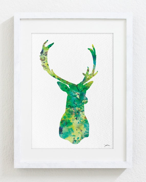Minimalist art deer watercolor print 5x7 archival print deer for Minimalist wall painting